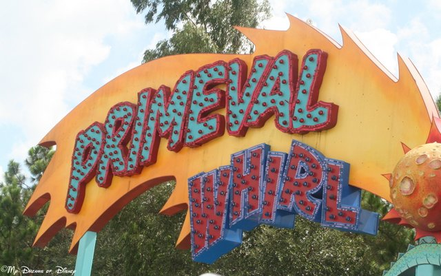 Primeval Whirl is a fun roller coaster that has you spinning in a circular ride vehicle!