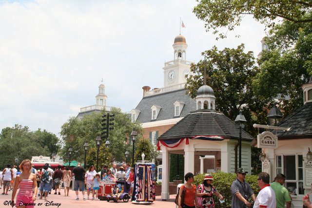 The American Adventure Pavilion is beautiful at any time of the year!