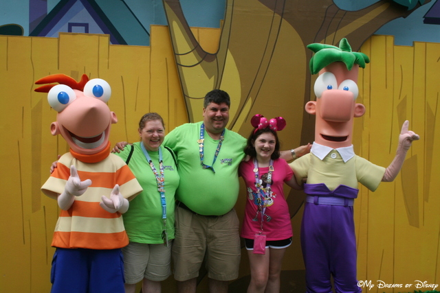 Posing for photos with Phineas and Ferb at Walt Disney World!