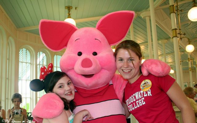 Piglet poses with Sophie and Stephanie at the Crystal Palace!