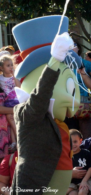 Jiminy Cricket walks in the Champions Parade for the 40th Anniversary of WDW!