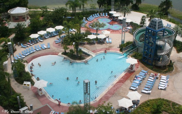 We stayed at Bay Lake Tower, which has a great pool and slide!