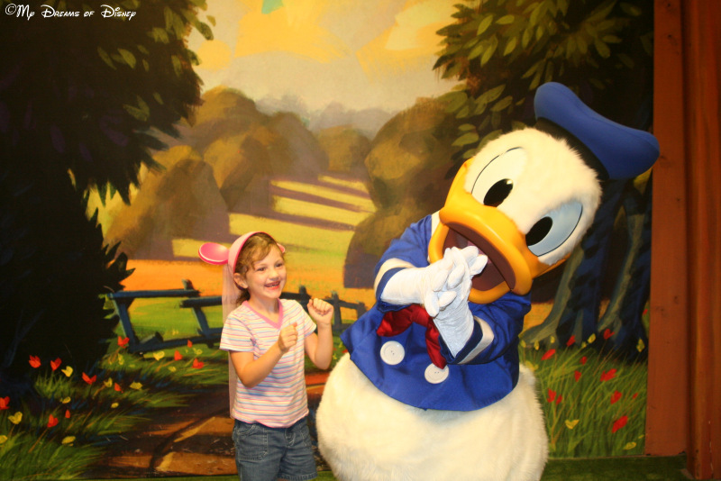 Sophie was so excited to see Donald Duck she started dancing!