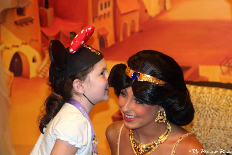 Our daughter Sophie shares a secret with Princess Jasmine!
