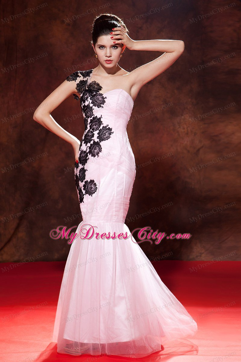 Mermaid One Shoulder Prom Dress Baby Pink With Embroidery