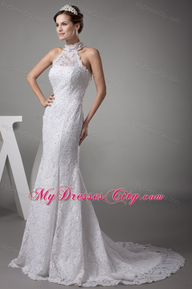 Halter Top Mermaid Lace With Beading Court Train Wedding