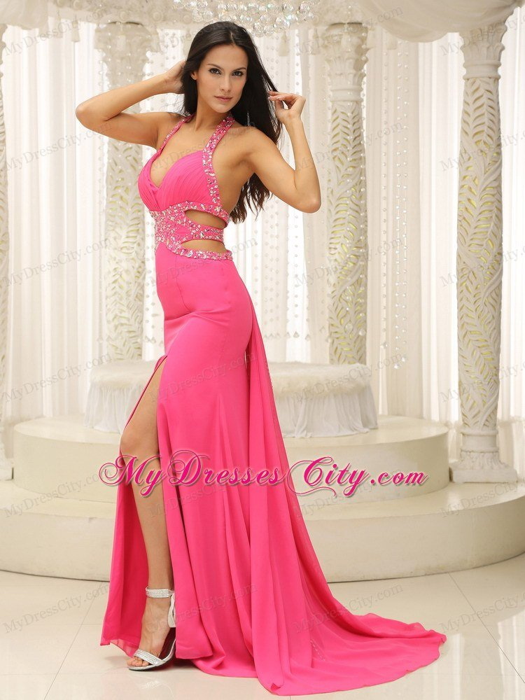 Hot Pink Halter Beaded Decorate Prom Dress with Cut Out ...