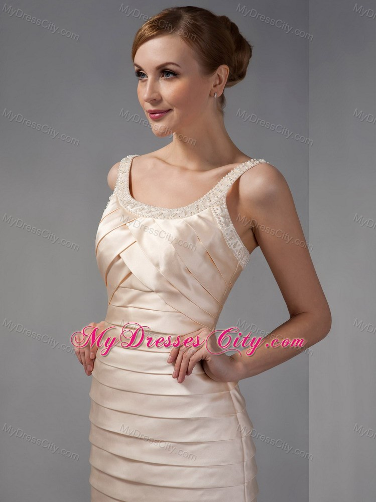 Scoop Knee Length Champagne Beaded Neckline Mother Dress