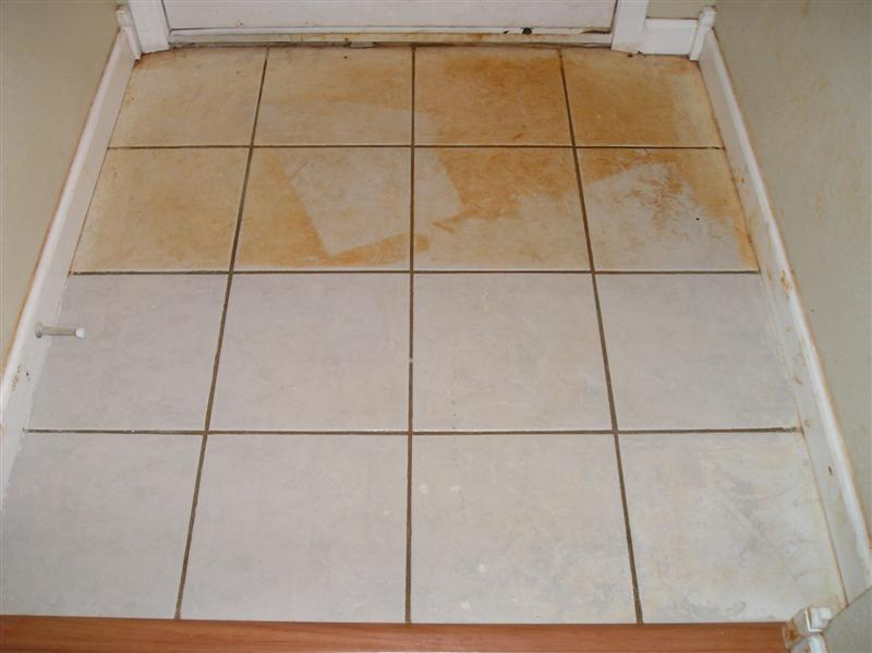 remove rust stains from ceramic tiles
