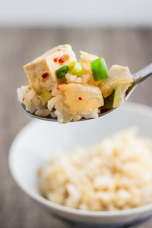 Vegan korean miso soup (korean soybean paste soup)