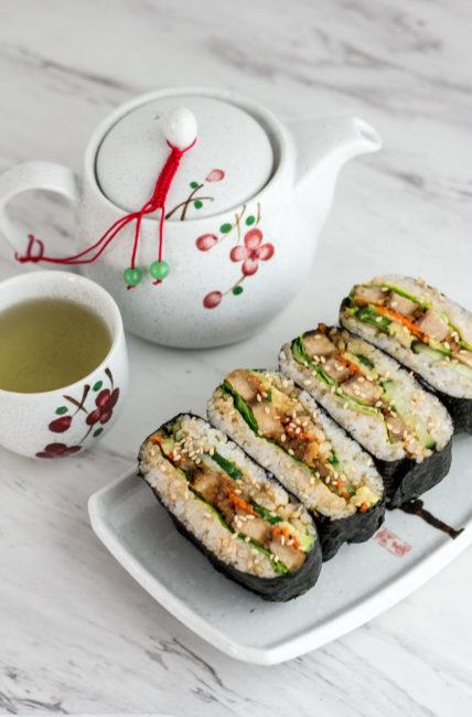 Vegan Sushi Rice Ball Sandwich - vegan onigirazu