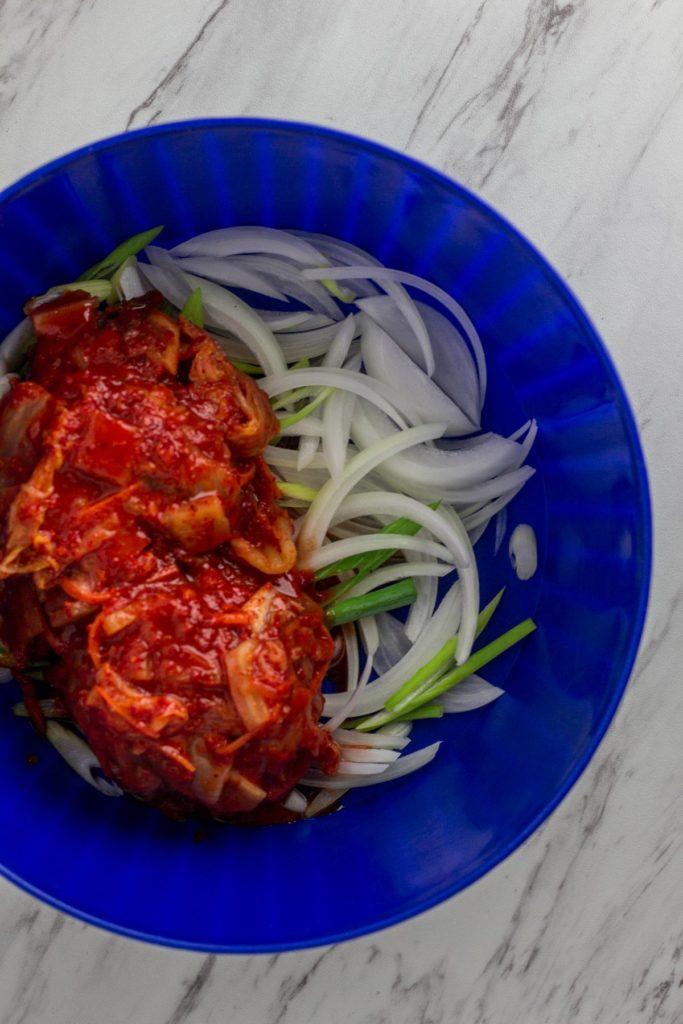 kimchi, onion, and green onion