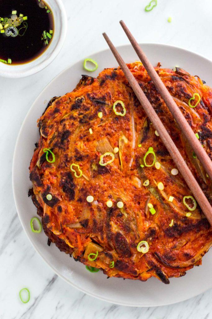 Korean Vegan Kimchi Pancake uncut, over head shot
