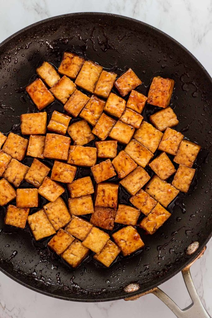 Pan fried tofu cubes simmered with teriyaki sauce