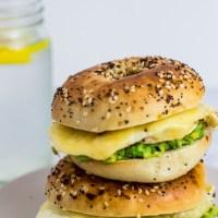 Avocado Fried Egg Bagel Breakfast Sandwich