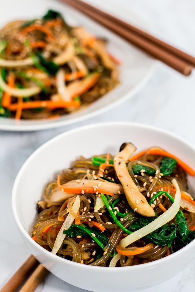 Two bowls of japchae
