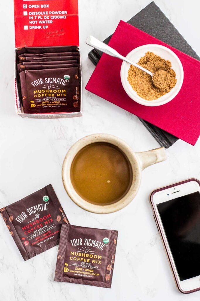 best coffee alternative option 3- overhead shot of mushroom coffee, four sigmatic