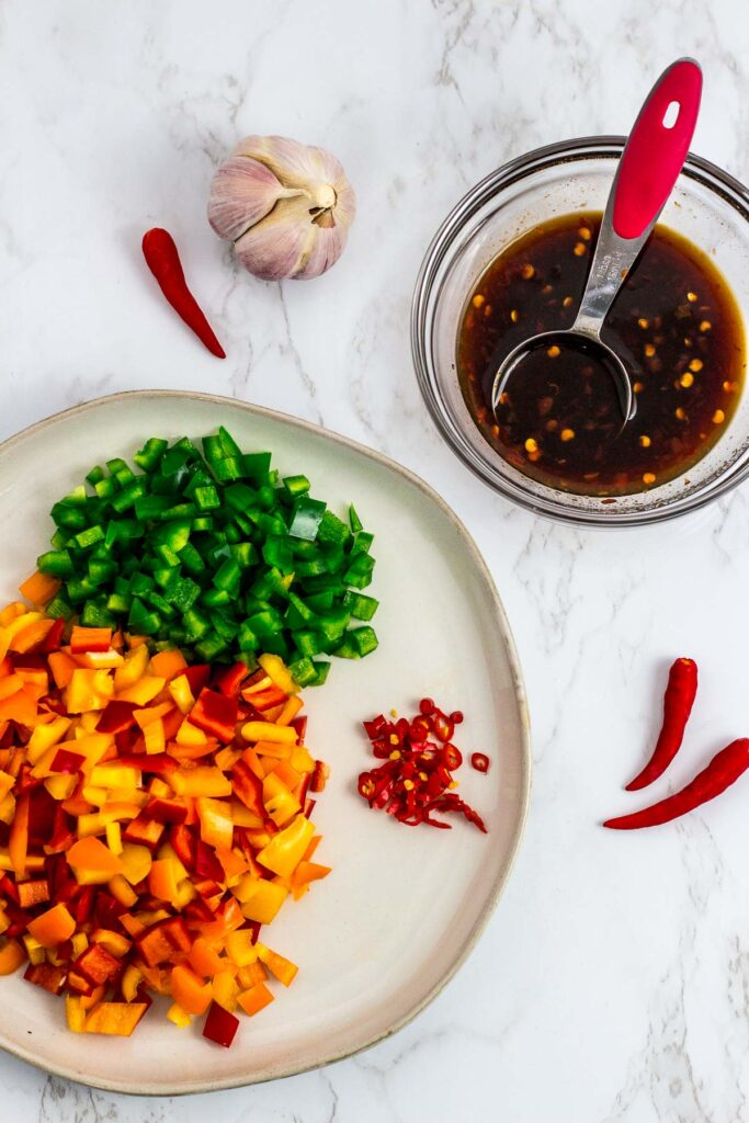 veggies and sauce for spicy fried rice