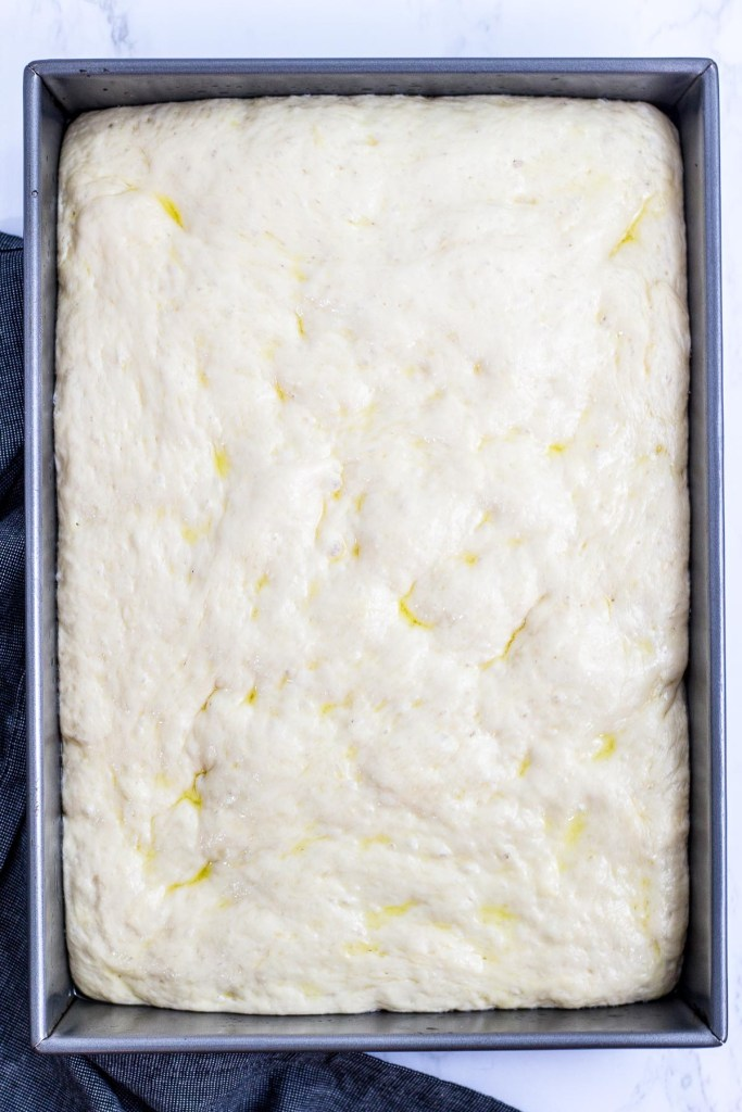 Pizza dough expanded in a baking pan
