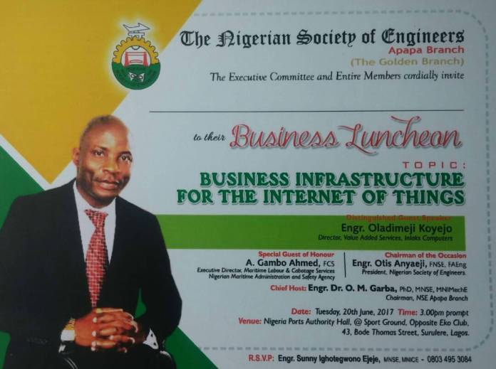 Business Infrastructures for IOT: NSE Apapa Branch Invites to 2017 Business Luncheon