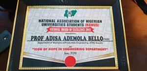 NIMechE Past National Chairman, Prof. Ademola Adisa Bello Honoured with Icon of Hope Award
