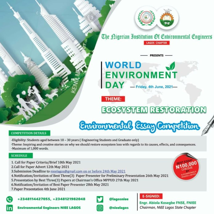 Call for Applications: environmental Essay Competition for tertiary institutions in Nigeria