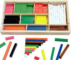 Cuisenaire rods are used in the Silent Way method