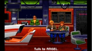 The bar of the Tiger's Claw. You can talk to the three characters, read the dynamically updating killboard, and play the mission simulator. Since characters could die in combat, their chairs would be empty if they had been killed.
