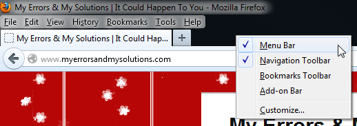 Mozilla Firefox Menu Bar