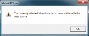 The currently selected Visio driver is not compatible with the data source