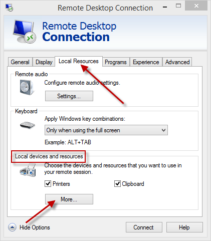 Remote Desktop Connection - Local Resources
