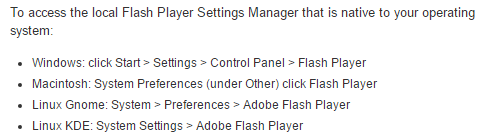 Adobe Flash Player Settings Manager