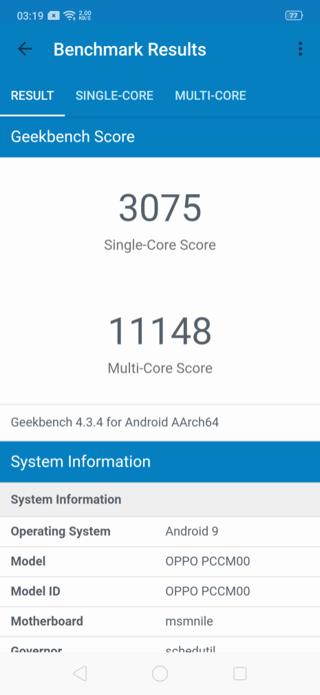 OPPO Reno 10x Zoom Edition Geekbench