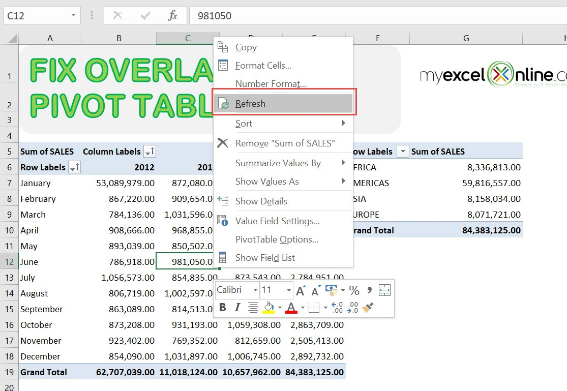 A Pivottable Report Cannot Overlap Another Pivottable Report