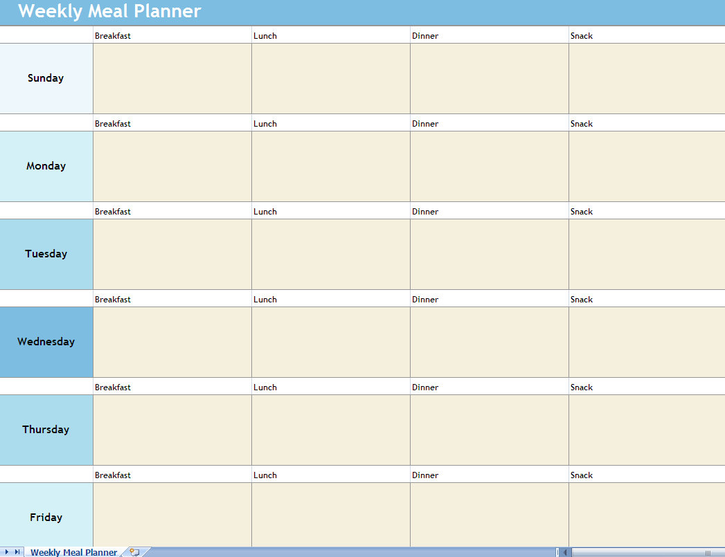 Weekly Meal Planner Excel Spreadsheet