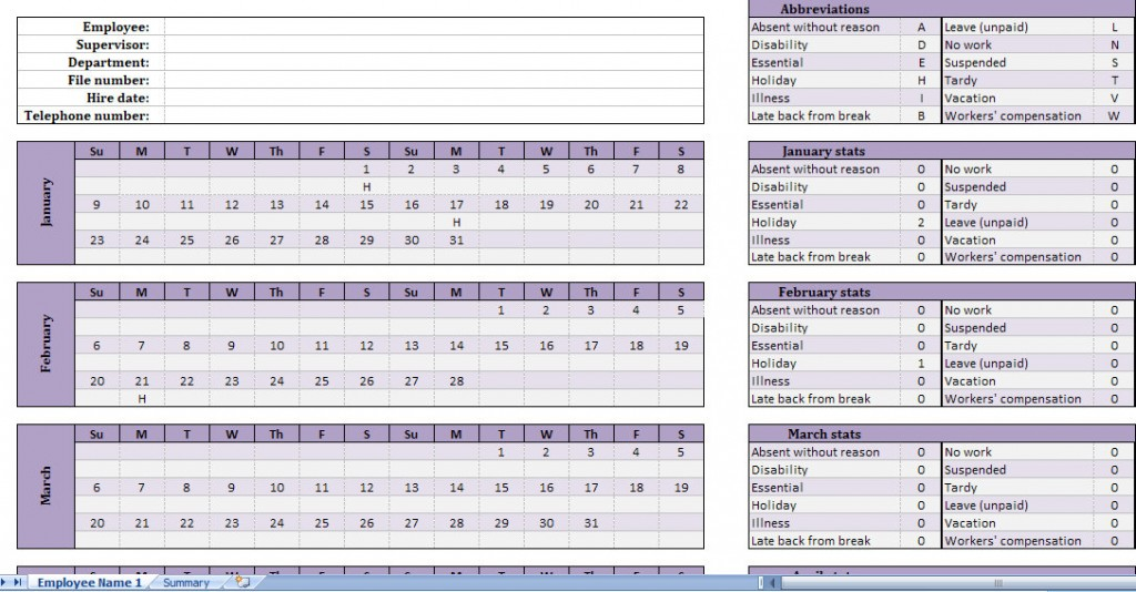 Employee Attendance Calendar Template Vacation Schedule Excel