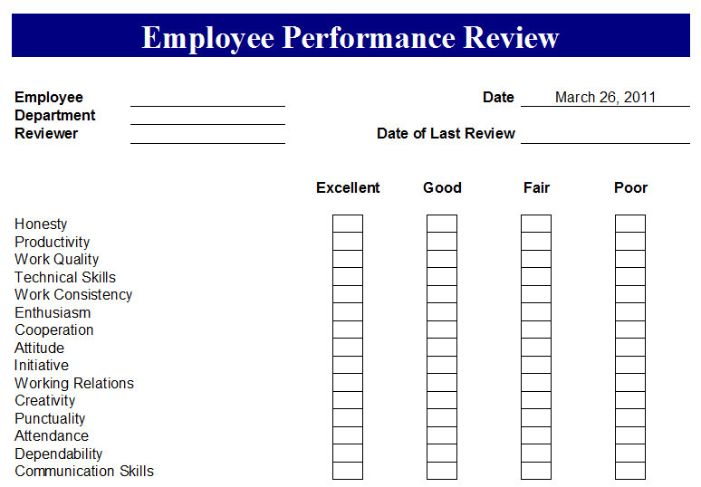 Staff Review Templates 13 hr evaluation forms hr templates free – Free Performance Review Templates