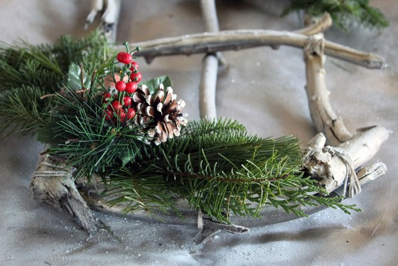 DIY Foraged Sticks Holiday Wreath with Winter Greens