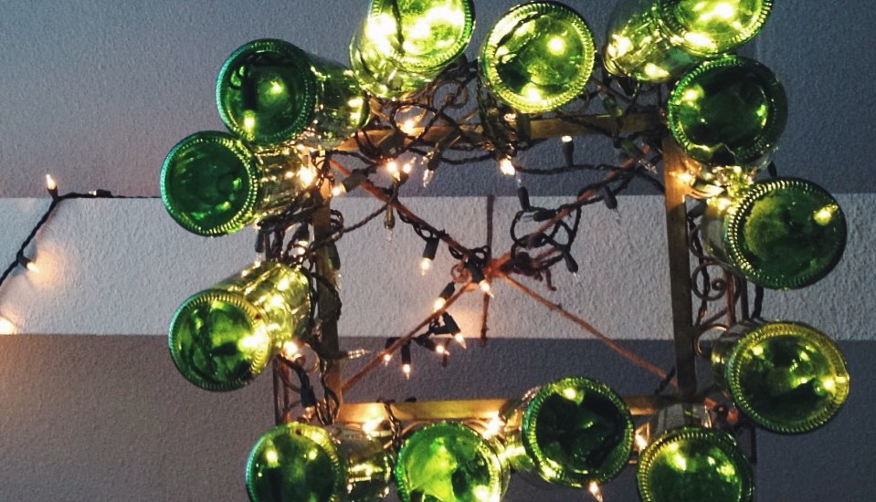 DIY Glass Bottle Chandelier