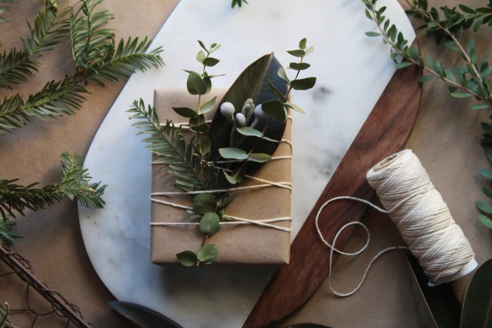 Simple and Elegant Christmas Wrapping with Greenery