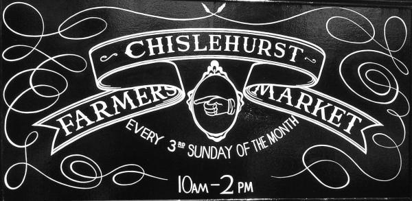 chislehurst farmers market sign at old police station site