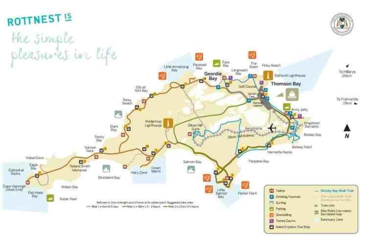 Rottnest-island map bike and snorkelling