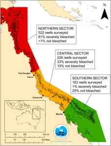 coral bleaching map great barrier reef