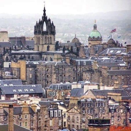 View of Edinburgh - flags
