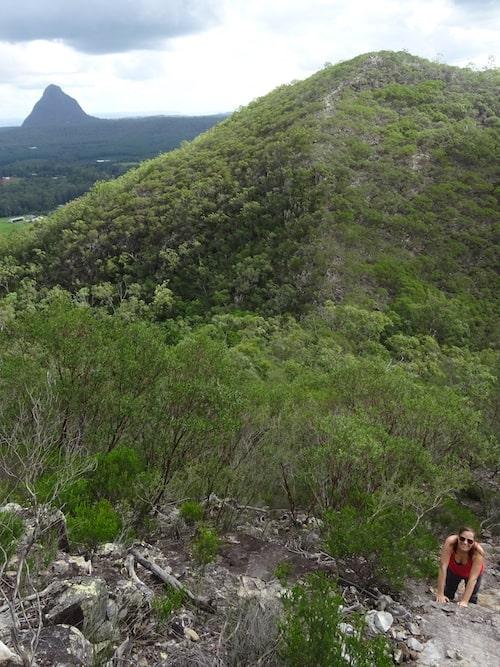 Glasshouse Mountains Walks - Mount Coochin walk Climbing up the west peak