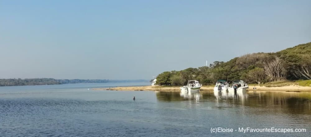 Boats in front of Bunga Arm Campground