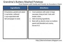 mashed potatoes recipe card