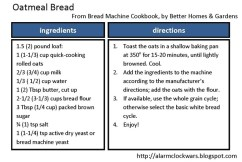 oatmeal bread recipe card