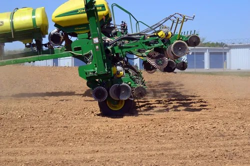 16-row corn planter paused