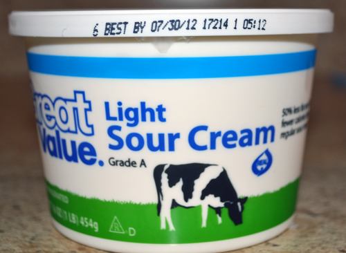 WalMart sour cream plant code